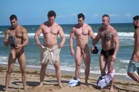 Muscle males naked Beach